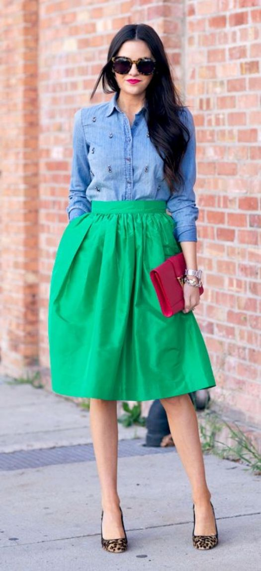 blue denim shirt a line skirt style