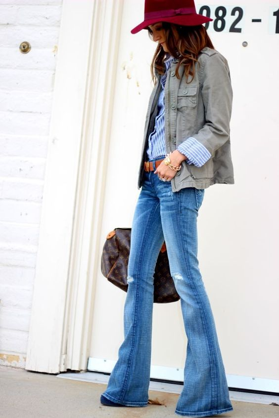 blue flare jeans style outfit