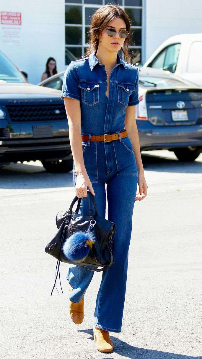 chic denim kendall jenner outfit