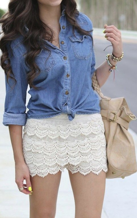 denim shirt lace crochet shorts style