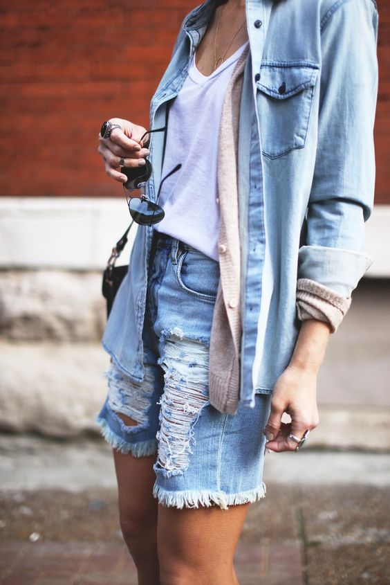 denim shirt layers cardigan shorts style