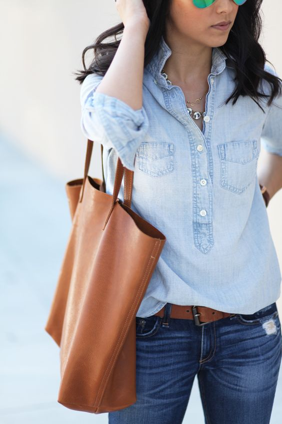 denim shirt on denim jeans caramel bag style