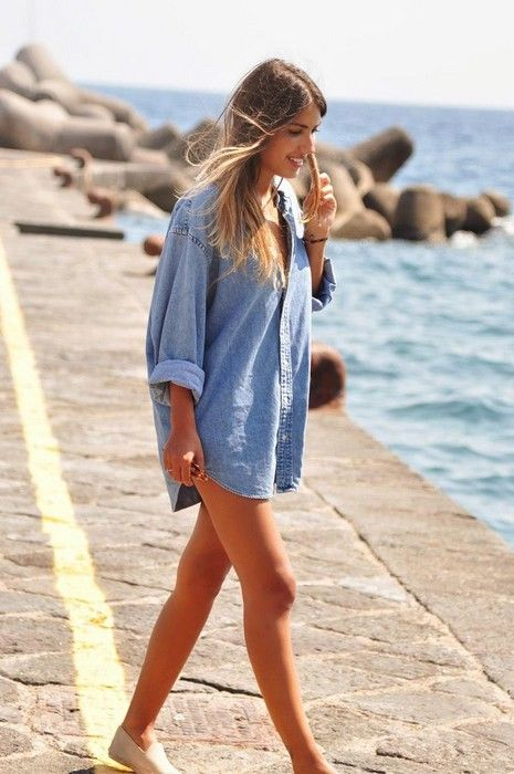 denim shirt oversize dress style