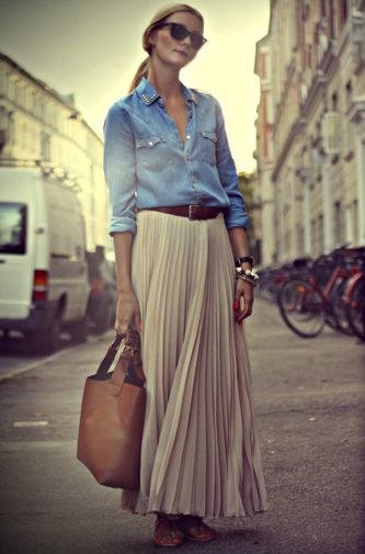 denim shirt pleated maxi skirt style