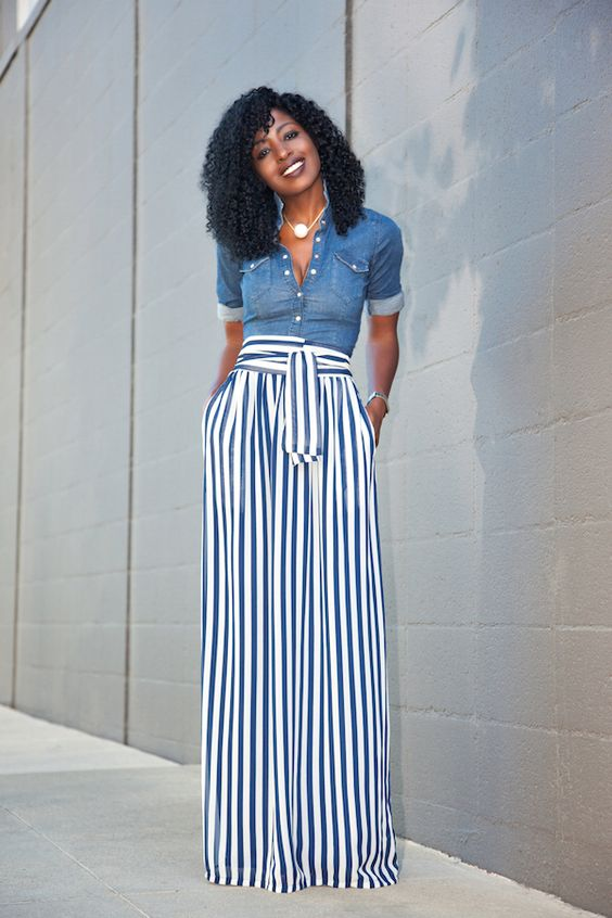 denim shirt striped maxi skirt style
