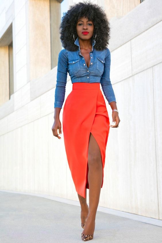 denim shirt tulip slit skirt style