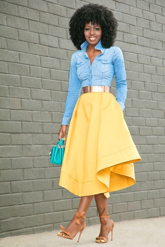 denim shirt waves midi skirt style