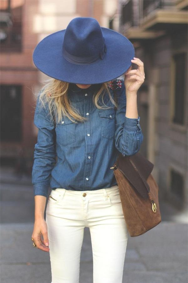 denim shirt white denim pants style