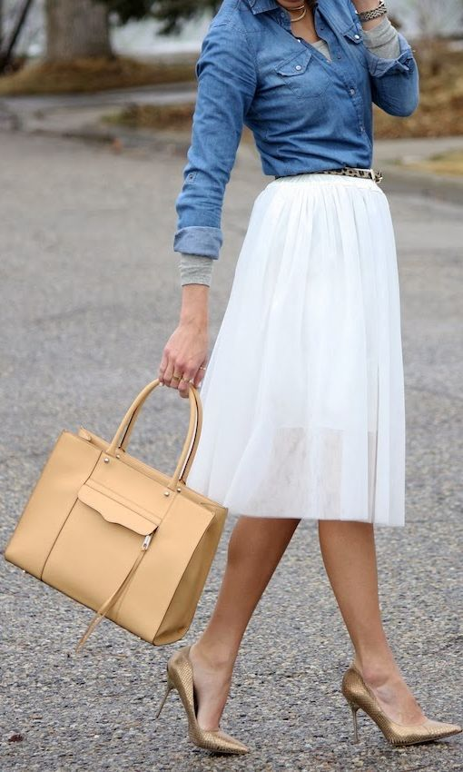 denim shirt white lace midi skirt