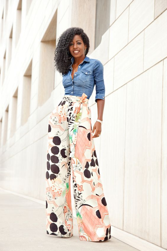 denim skirt printed palazzo pants style