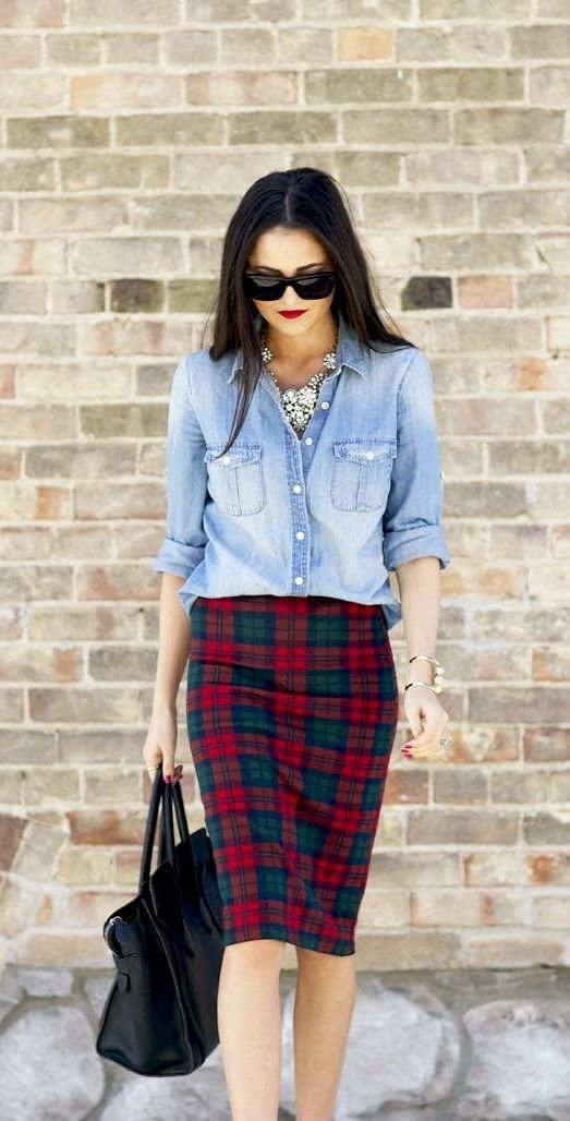 denim skirt tartan skirt street style
