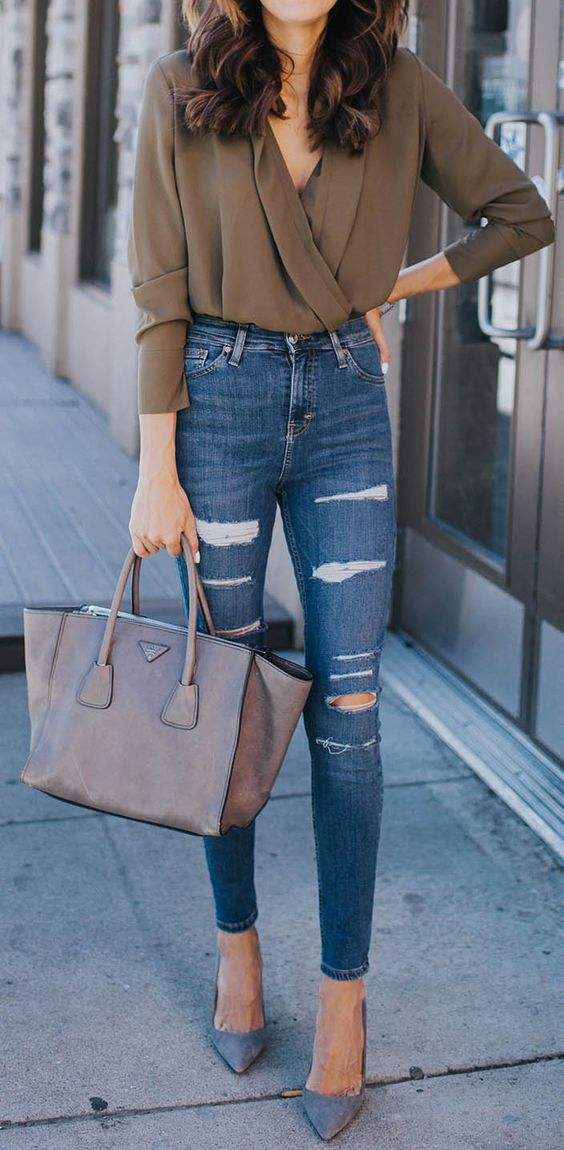 great jeans leggings outfit idea