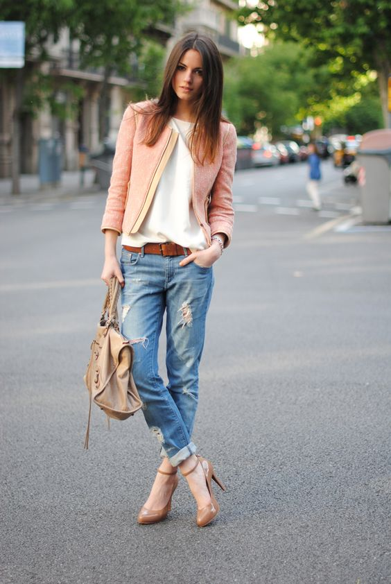 great slouch jeans outfit idea