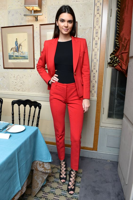 red suit kendall jenner outfit