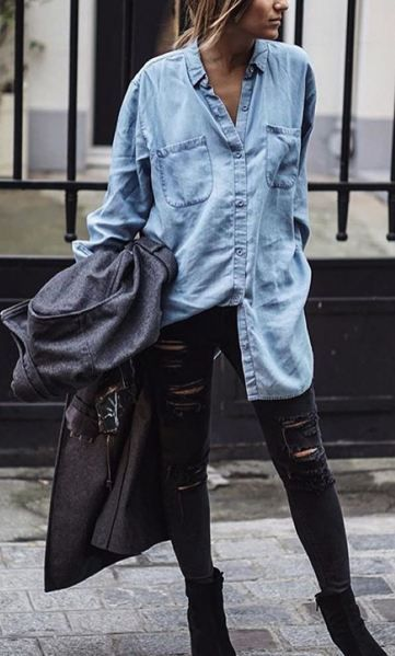 rock and roll style denim shirt