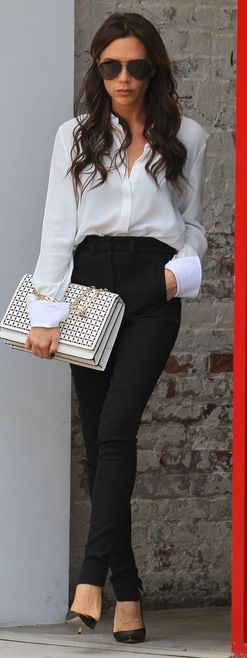 victoria beckham black and white style outfit