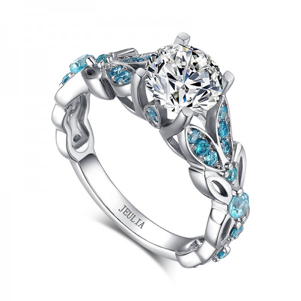 Butterfly round cut engagement ring