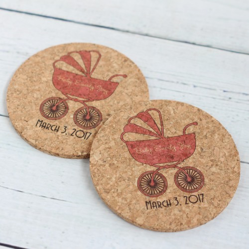 Personal Baby Shower Cork Coasters