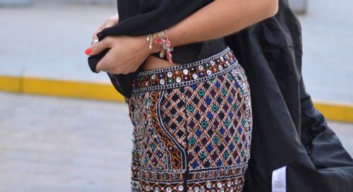 Shorts stones aztec ethnic embellished beaded sequins embroidered Small S