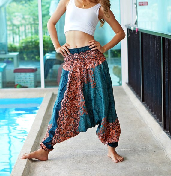 Harem pants in blue with red ornaments #harempants #pants #fashion #trendypins