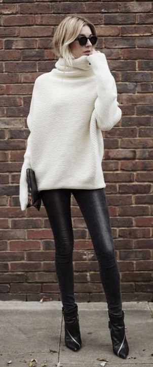 Leggings in black with white sweater #leggins #pants #fachion #trendypins