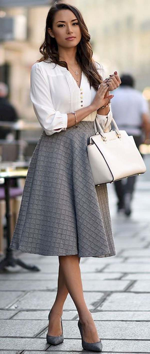 A line skirt in grey #a-line skirt #skirt #fashion #trendypins