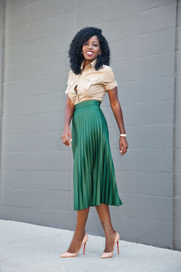 Pleated Accordion Midi Skirt #Accordion Skirt #skirt #fashion #trendypins