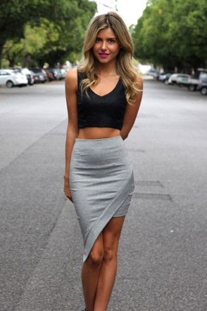 Asymmetrical gray mini skirt #Asymmetrical skirt#skirt #fashion #trendypins