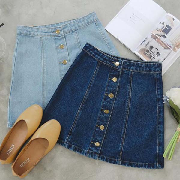 Women's single breasted denim skirt #skirt #fashion #trendypins