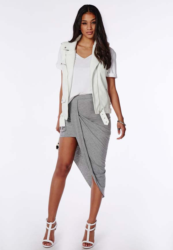 Draped asymmetric jersey midi skirt grey marl #skirt #fashion #trendypins