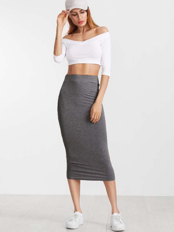 Heather Grey Jersey Pencil Skirt #skirt #fashion #trendypins