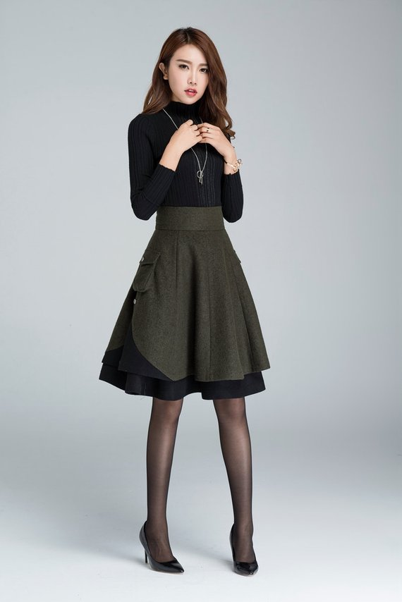 Short wool skirt, winter skirt, layered skirt #skirt #fashion #trendypins