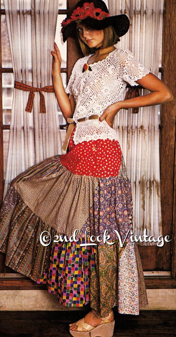 Vintage 1970s Sewing Pattern Peasant Gypsy Maxi skirt #skirt #fashion #trendypins
