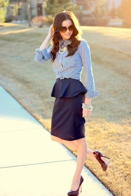 Peplum skirt outfit idea #1. Wear a peplum skirt with a rolled-cuff button-down shirt and chic pumps. #skirt #fashion #trendypins