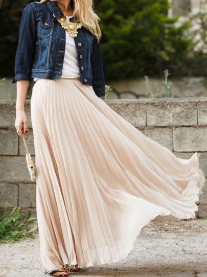 Nude Plain Pleated Ankle Floor Length Straight Fashion Polyester Flowy Maxi Skirt #skirt #fashion #trendypins