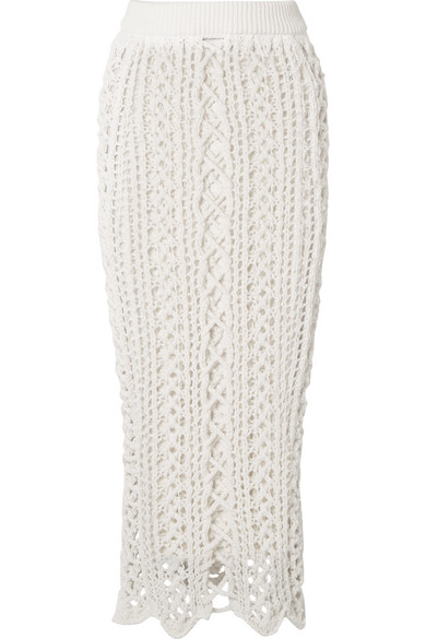 Crochet-Knit Stretch-Cotton Midi Skirt #skirt #fashion #trendypins