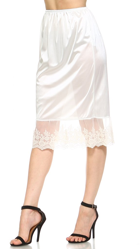 Long single lace satin underskirt skirt extender half slip for lengthening #skirt #fashion #trendypins