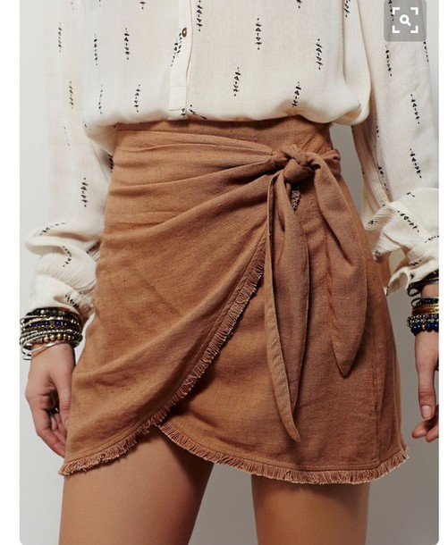 Skirt: suede boho bow bow wrapped ruched printed shirt back to school summer outfits fall outfits #skirt #fashion #trendypins