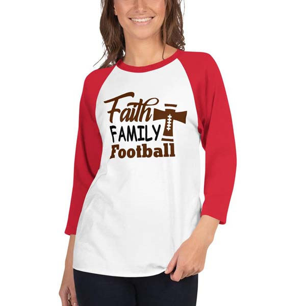 Football Mom Baseball/Raglan Shirt Faith Family Football #baseball shirt #shirts #fashion #trendypins