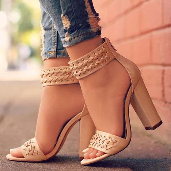 Open Toe Ankle Band Wrap High Chunky Heels Sandals #heels #fashion #trendypins