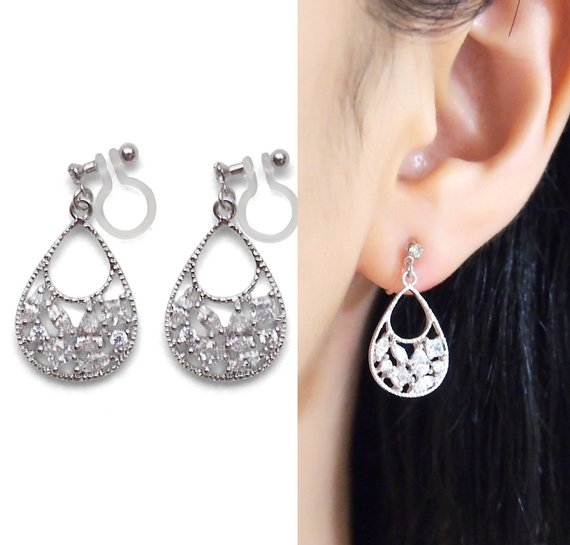 Crystal Invisible Clip On Earrings Dangle. Cubic Zirconia Clip On Earrings Bridal. Silver Filigree Clip Earrings, Non Pierced Earrings #clip earrings #earrings #fashion #trendypins