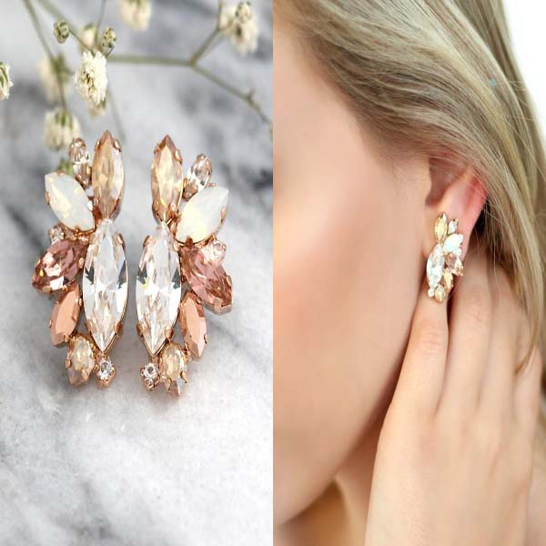 Rose Gold Champagne Cluster Earrings #cluster earrings #earrings #fashion #trendypins