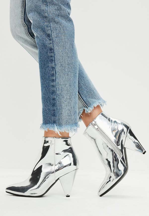 silver cone heel ankle boots #heels #fashion #trendypins