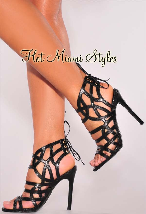 Black Cut Out Ankle Lace Up High Heels #heels #fashion #trendypins