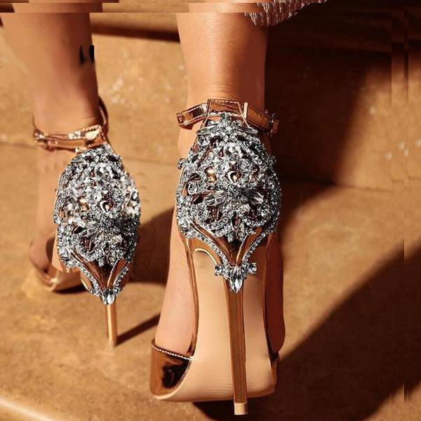 Satin with Ornate Metal and Crystal Embellished Stiletto Heel #heels #fashion #trendypins