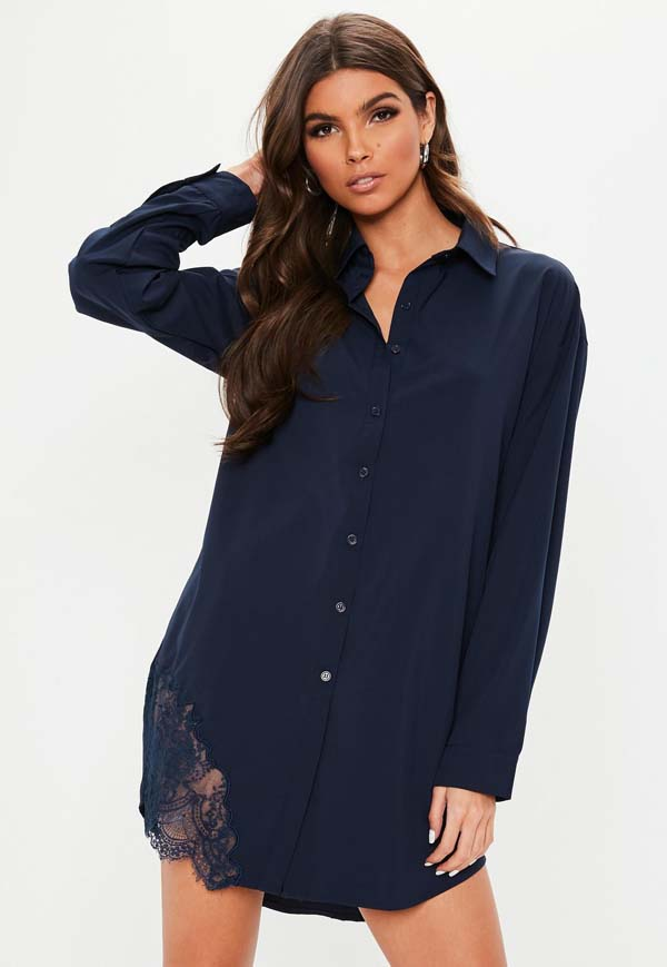a long sleeve shirt dress featuring in a navy hue with lace trim detail #dress shirt #shirts #fashion #trendypins