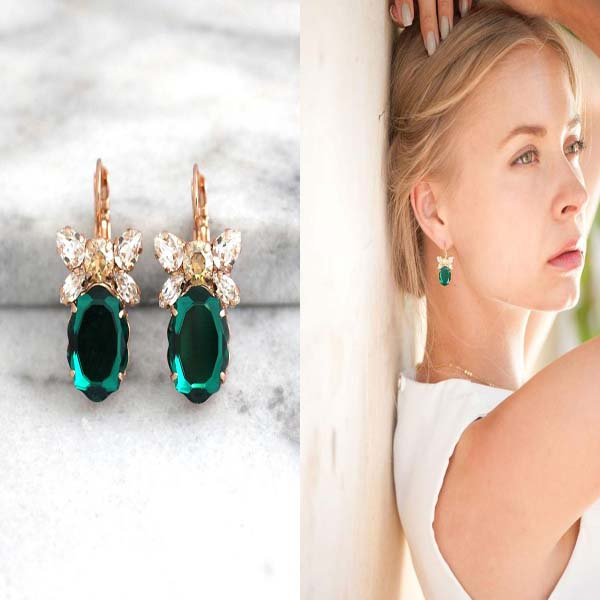 Emerald Drop Earrings #drop earrings #earrings #fashion #trendypins