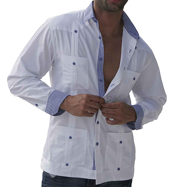 Modern Guayabera Shirt With Plaid Lining #guayabera #shirts #fashion #trendypins