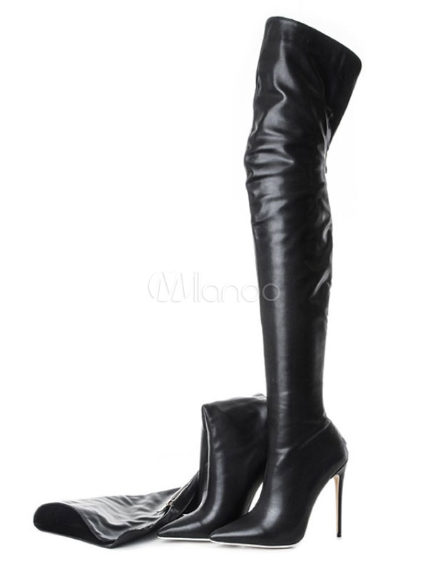 Black Over Knee Boots High Heel Boots Pointed Toe Zip Up Thigh High Boots #heels #fashion #trendypins