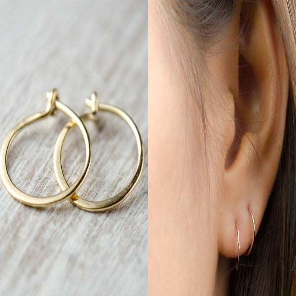 Tiny Yellow Gold Hoop Earrings #hoop earrings #earrings #fashion #trendypins